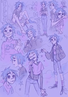 local artist comes back to life after listening to the new gorillaz album, immediately starts wasting it by scribbling a singer that isnt even rael for the rest of the day. more news at eleven Gorillaz 2 D, Gorillaz Noodle, Jamie Hewlett, Damon Albarn, 2d And Murdoc, Kevedd, Fanart, Chef D Oeuvre, Cool Bands