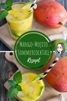de A recipe for a mojito with mango. Quick and easy, very refreshing. Cocktail with alcohol or in the non-alcoholic version. Mango Mojito, Mojito Cocktail, Ginger Ale, Christmas Cocktail, Snacks Sains, Tequila Drinks, Gin Tonic, Clean Eating Snacks, Cocktail Recipes