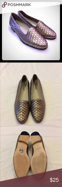 Trotter Woven Leather Loafers Trotter Leather Woven Loafers. Goldish Color. Lightly Worn. In Wonderful Condition. Measurements in Pictures Since Unable To See Size Inside Shoe. Fit Like a 7-7.5 Women's. Trotters Shoes Flats & Loafers