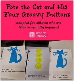Adapt Pete the Cat with braille and tactile graphics for children who are blind or visually impaired!