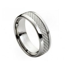 Tungsten Carbide Ring, Wedding Ring for Men with Light Gray Carbon Fiber Inlay 8mm. $59.99, via Etsy.