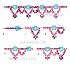 Gratis patroon voor kralen ketting Silver Moon | Beads Magic