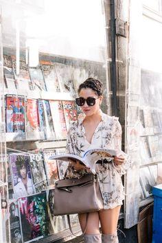September Romance :: Floral dress & Gray boots