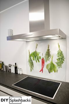 Ingredients printed glass splashback. Shop from over 400 designs, or provide your own. All of our splashbacks are: Heat Resistant to 200 degrees, toughened safety glass, available in any size, and all come with a seven year warranty. Visit diysplashbacks.co.uk to discover more.