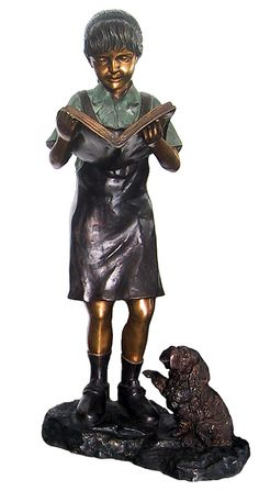 Girl Reading Book with her Dog Bronze Garden Statue