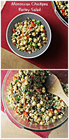 Good, unique flavour, bit of heat only- Moroccan Chickpea Barley Salad from Joanne Eats Well With Others Barley Salad, Soup And Salad, Salad Bar, Vegetarian Recipes, Cooking Recipes, Healthy Recipes, Healthy Meals, Healthy Food, Clean Eating