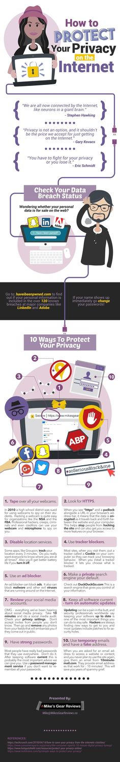 How To Protect Your Privacy On The Internet [INFOGRAPHIC] Social Media Tips, Social Media Marketing, Change Your Password, Internet Safety, How To Protect Yourself, Digital Technology, Infographics, Geek Stuff, Digital Citizenship