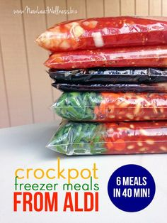Six Crockpot Freezer Meals from Aldi in 40 Minutes. Simple and healthy recipes!