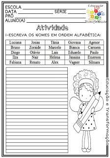 Atividades Escolares: Ordem alfabética Professor, Diagram, Education, School, Class Activities, Sight Word Activities, Reading Activities, Alphabetical Order, Learning To Write