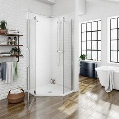 See our Mode luxury left handed frameless hinged door quadrant shower enclosure 800 x Plus benefit from our 365 day no quibble returns. Square Shower Enclosures, Quadrant Shower Enclosures, Frameless Shower Enclosures, Stone Shower, Glass Shower, Walk In Shower, Shower Doors, Modern Bathroom, Small Bathroom
