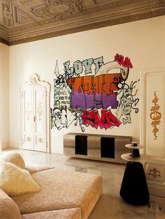 Modern graffiti in an old house