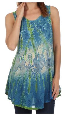 Ombre Floral Tie Dye Flared Hem Sleeveless Tunic Blouse
