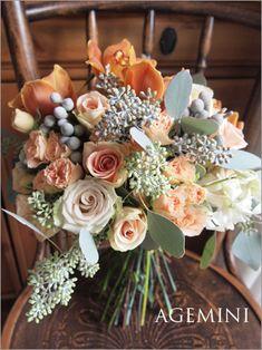 秋色のクラッチブーケ。 |Autumn wedding bouquet|AGEMINI
