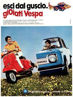 """1975: """"Escape the shell, Vespa joy"""" (read: bite me cager!)."""