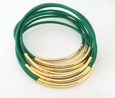 Kelly Green Leather Bangle Bracelets with Gold or Silver Tube Accents. $23.00, via Etsy.