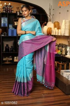 Sarees Attractive Linen Saree  *Fabric* Saree - Linen, Blouse - Linen  *Size* Saree Length With Running Blouse - 6.3 Mtr  *Work* Handloom Work  *Sizes Available* Free Size *   Catalog Rating: ★4 (1149)  Catalog Name: Aaryahi Solid Linen Sarees with Tassels and Latkans CatalogID_127991 C74-SC1004 Code: 357-1051082-
