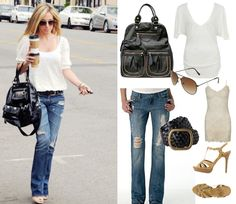 Haylie Duff    Urban Expressions Fold Over Tote – $64.99 at FashionFlair.com  V-Neck Slub Top – $12.80 at Forever21.com  Sheer LAce Cami – $7.80 at Forever21.com  Destroyed Jeans – $36.50 at Alloy.com  Metal Aviator Sunglasses - $5.80 at Forever21.com  Athena Braided Belt - $29.50 at Delias.com  Lethal Heel – $34.50 at Alloy.com