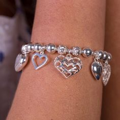 Heartfelt Heart Bracelet #AnnieHaak #SterlingSilverJewellery #Hearts Heart Bracelet, Bracelets, Sterling Silver Jewelry, Diamond, Hearts, Diamonds, Bracelet, Arm Bracelets, Bangle
