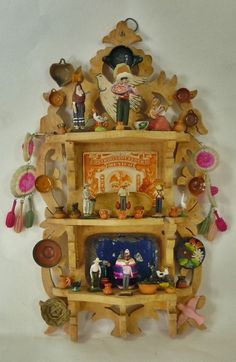 Antique Mexican Shelf with Very Detailed Figurines and Objects Dollhouse Miniature 1:12 scale