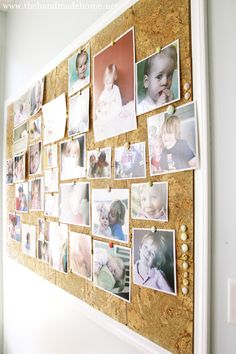 Giant cork board for pictures! Could be perfect for the wall in our kitchen! We're always running out of space in our fridge for pictures and things.