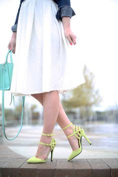 MaeAmor - white midi skirt, denim shirt, neon pumps, Rebecca Minkoff MAB mini tote