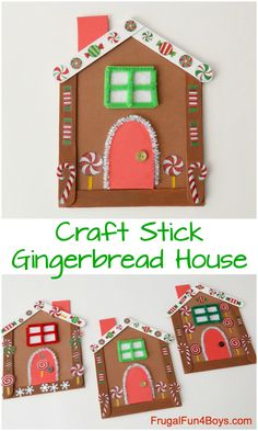 This Gingerbread House is the Most Adorable Christmas Craft for Kids! Craft stick gingerbread house, I love how simple the materials are. Preschool Christmas Crafts, Christmas Activities, Christmas Projects, Kids Christmas, Holiday Crafts, Stem Activities, Christmas Gifts, Christmas Candy, Simple Christmas