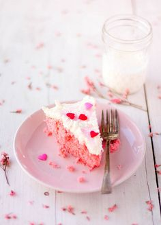 Such sweetly beautiful Valentine's Day Pink Velvet Cake. #cake #pink #red #velvet #dessert #food #Valentines #hearts