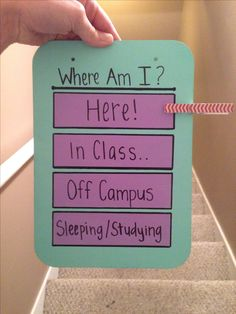 Studying/Sleeping... Knock if you need me! Class/Meeting Off Campus *Always…