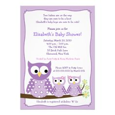 Purple Girl Twin Hoot Owls Baby Shower Invitation! Make your own invites more personal to celebrate the arrival of a new baby. Just add your photos and words to this great design.