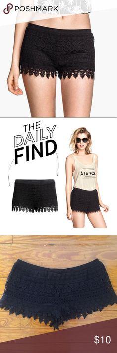 [H&M] Black Lace Shorts Size L. NWOT. Super short but comfy! H&M Shorts