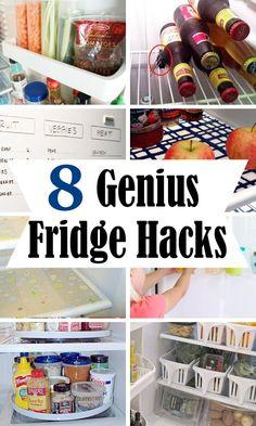 diy home sweet home: 8 Genius Fridge Hacks Under Sink Storage, Corner Storage, Small Bathroom Storage, Diy Organizer, Organizers, Fridge Organization, Organization Hacks, Organized Fridge, Organizing Ideas