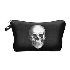 New Lady Portable Make Up Bag Case 3D Printing Skull Black Organizer Bolsa feminina Travel Toiletry Bag Cosmetic Bag