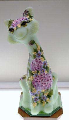 Fenton ALLEY CAT Sea Mist Green Satin PINK GERANIUM COLLAGE OOAK Free48stUSAshp Pink Geranium, Fenton Glassware, Alley Cat, Green Satin, Geraniums, Mists, Glass Art, Dinosaur Stuffed Animal, Collage