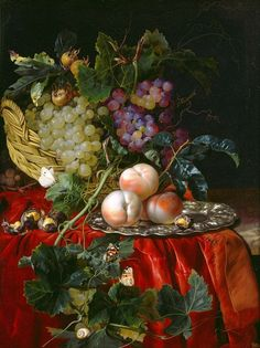 Willem van Aelst Still Life with Fruit, Nuts, Butterflies, and Other Insects on a Ledge, c. 1677