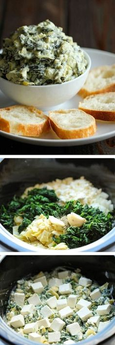Slow Cooker Spinach and Artichoke Dip – Simply throw everything in the crockpot for the easiest, most effortless spinach and artichoke dip! Slow Cooker Spinach and Artichoke Dip – Simply… Think Food, I Love Food, Slow Cooker Recipes, Cooking Recipes, Chef Recipes, Crock Pot Cooking, Cooking Time, Antipasto, Appetizer Recipes