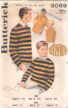 4b59797c7b2 Butterick 3089 1960s Mens RUGBY SHIRT Patter Johnny Collar Adult Vintage  Sewing Pattern Size Small Chest 34 35