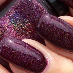 sale Berry Balm wine burgundy holographic glitter nail polish