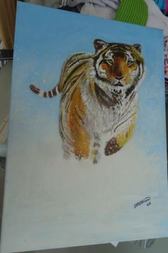 original-acrylic-painting-Tiger-in-the-snow