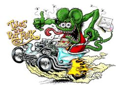 """my dad had a hot rod when I was young and I remember these """"rat fink"""" drawings in his studio."""