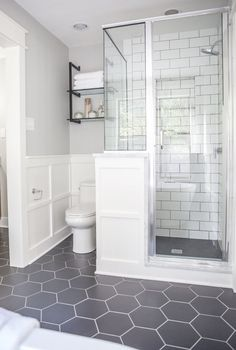 We used large hexagonal flooring throughout the whole bathroom. I love the way it paired with the classic white subway tile we used in the shower.