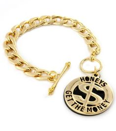 Cute Gold Honeys Get The Money Statement Link Toggle Chain Bracelet Urban Fashion Style