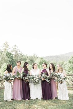 Lilac, Lavender, and Eggplant Purple Bridesmaid Dresses at a North Georgia Wedding in the Mountains Georgia Wedding, Atlanta Wedding, Eggplant Bridesmaid Dresses, Wedding Dresses, Wedding Bouquets, Wedding Trends, Wedding Styles, Wedding Tips, Wedding Venues