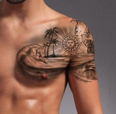 Palm Tattoos, Ocean Tattoos, Body Art Tattoos, Ocean Sleeve Tattoos, Beach Tattoos, Tree Tattoo Designs, Tattoo Sleeve Designs, Trendy Tattoos, Tattoos For Guys