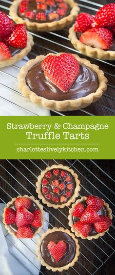Strawberry & Champagne Truffle Tarts : Treat someone you love with these strawberry and champagne truffle tarts - a sweet shortcrust pastry tart filled with rich milk chocolate and champagne ganache and topped with champagne soaked strawberries. Pastry Recipes, Tart Recipes, Dessert Recipes, Valentines Baking, Valentines Day Food, Shortcrust Pastry Tarts, Choux Pastry, Hacks Cocina, Strawberry Champagne