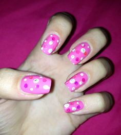 Pink spotted nails, nail art at home, girly nail design