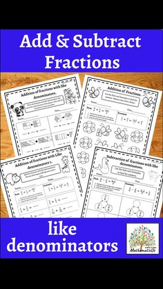 Addition Of Fractions, Add And Subtract Fractions, Addition And Subtraction Practice, Early Elementary Resources, Elementary Math, Math Resources, Math Activities, Co Teaching, Teaching Ideas