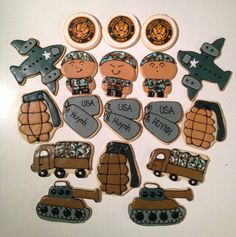 Going off to a special soldier in Afghanistan. Cookie Designs, Cookie Ideas, Camo Cookies, Army Cake, Army Party, Army Soldier, Grad Parties, Afghanistan, Memorial Day