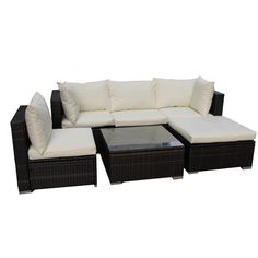 Including six high-quality pieces, this outdoor rattan patio furniture set is a comfortable, stylish addition to any patio. Featuring a water and UV resistant aluminum frame and five-millimeter-thick glass, this set is functional and fabulous.