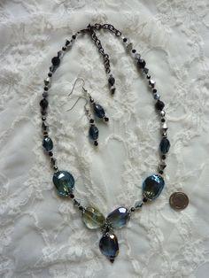 "Aurora Borealis Blue ""Rocks"" Pendant Statement Necklace, with Black"