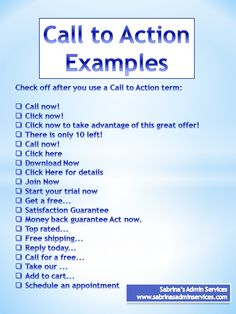 Call to action examples to help you with your small business advertising. Mail Marketing, Sales And Marketing, Social Media Marketing, Digital Marketing, Call To Action, Copywriting, Business Tips, Organizing Tips, Small Businesses